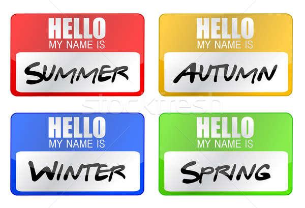 clime seasons name tags illustration design over white Stock photo © alexmillos