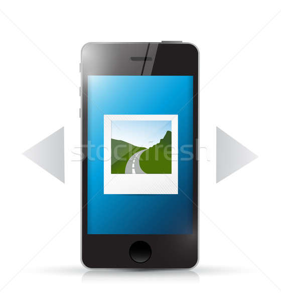 phone and photo gallery illustration design over a white backgro Stock photo © alexmillos