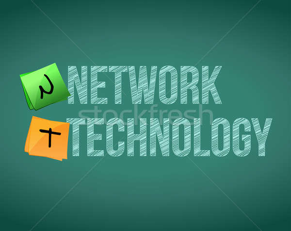 network technology posts on a chalk board illustration design Stock photo © alexmillos