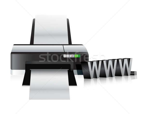 принтер WWW онлайн интернет иллюстрация дизайна Сток-фото © alexmillos