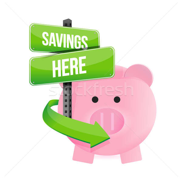 Savings here piggy bank Stock photo © alexmillos