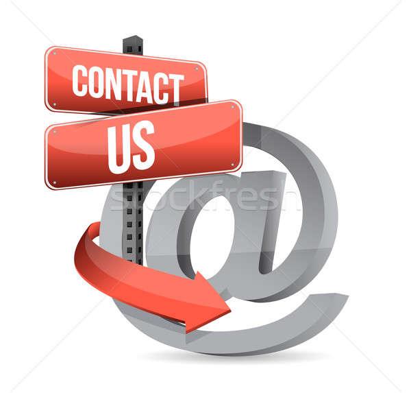 E mail contact us at sign illustration design Stock photo © alexmillos