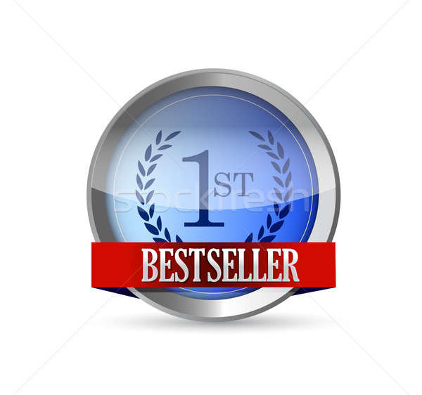 Bestseller button shield illustration design  Stock photo © alexmillos