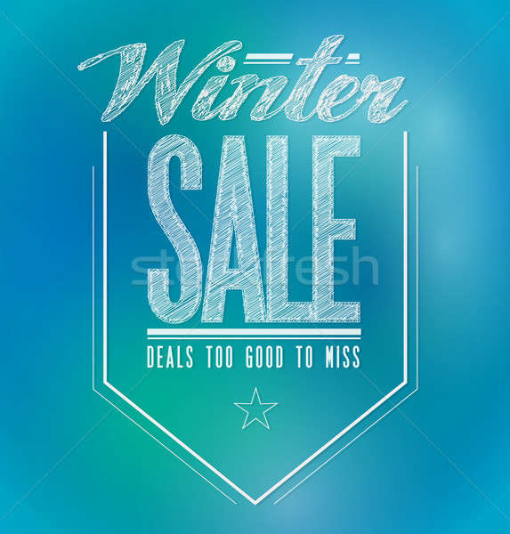 Blue and green lights winter sale poster sign  Stock photo © alexmillos