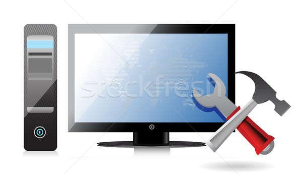 Foto stock: Reparação · de · computadores · ferramentas · computador · fundo · espaço · monitor