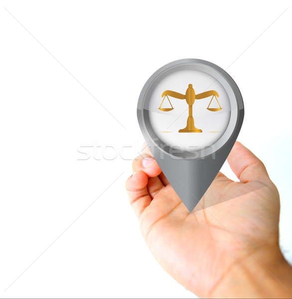 Hand holding a balance pin pointer icon  Stock photo © alexmillos