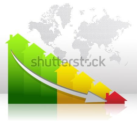 Kék oszlopdiagram felfelé lefelé nyíl diagram Stock fotó © alexmillos