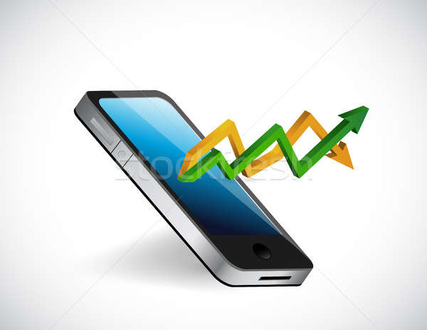 cellphone up and down arrow graph Stock photo © alexmillos