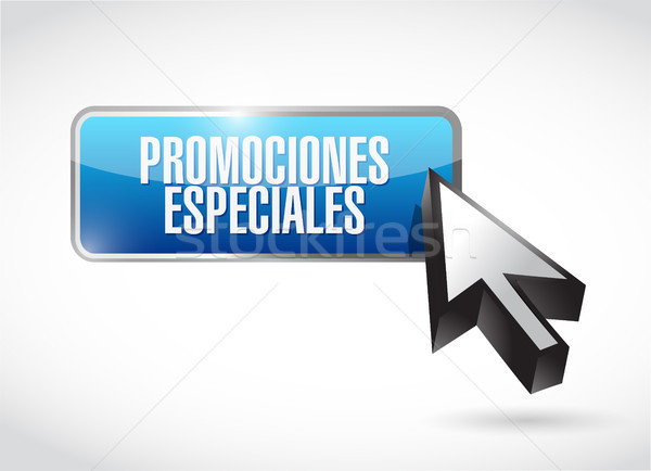 special promotions in Spanish button sign concept Stock photo © alexmillos