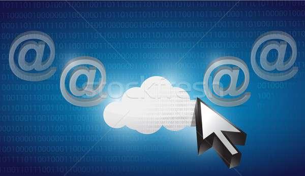 Wolk internet gekozen Blauw binair illustratie Stockfoto © alexmillos