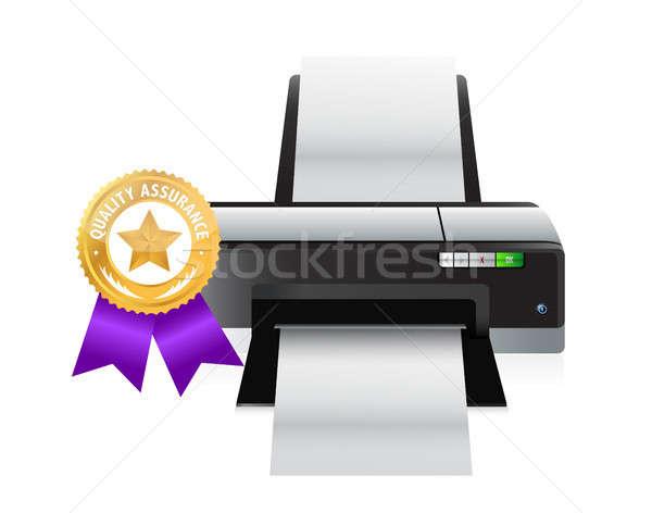 Stockfoto: Printer · kwaliteit · goud · lint · illustratie · ontwerp