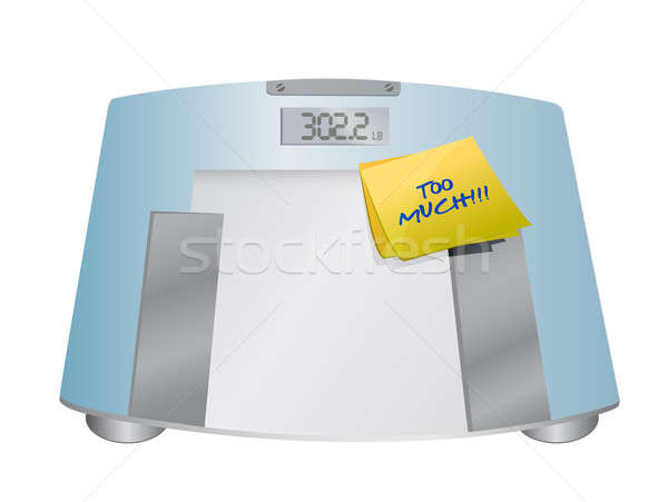 too much sign on a weight scale. illustration Stock photo © alexmillos