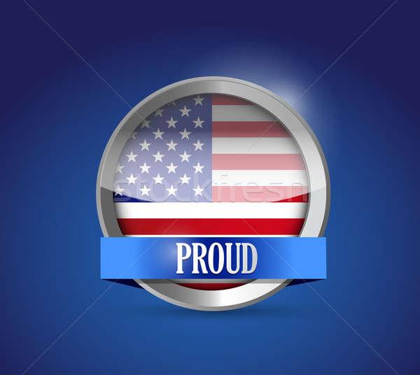 USA przycisk banderą dumny ilustracja projektu Zdjęcia stock © alexmillos