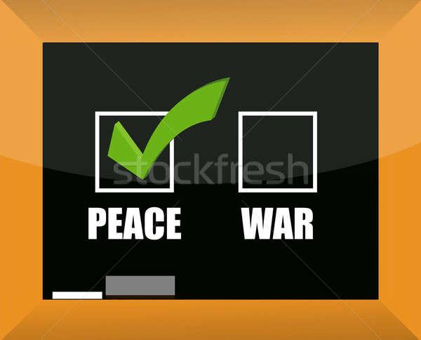 Chalk drawing - choose between peace and war illustration Stock photo © alexmillos
