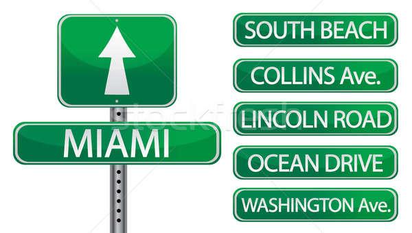 Miami Flórida rua sinais isolado branco Foto stock © alexmillos