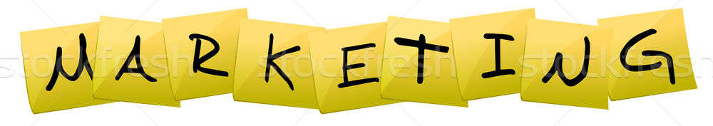 Marketing Post it yellow sign isolated over a white background Stock photo © alexmillos