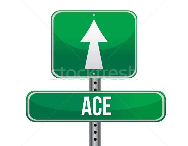 Ace road sign illustration design Stock photo © alexmillos