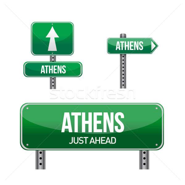 Athens Greece city road sign illustration design over white Stock photo © alexmillos