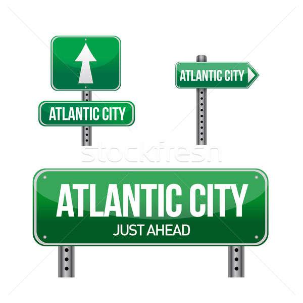 atlantic city city road sign illustration design over white Stock photo © alexmillos