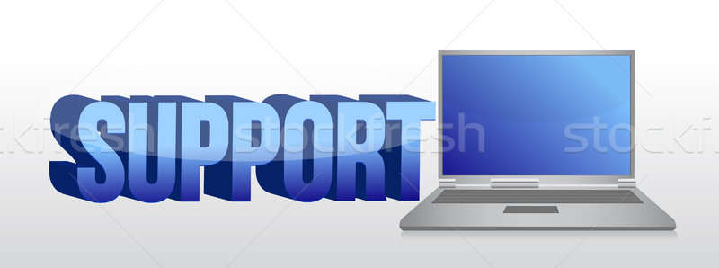 Computer support sign 3d text and laptop illustration Stock photo © alexmillos