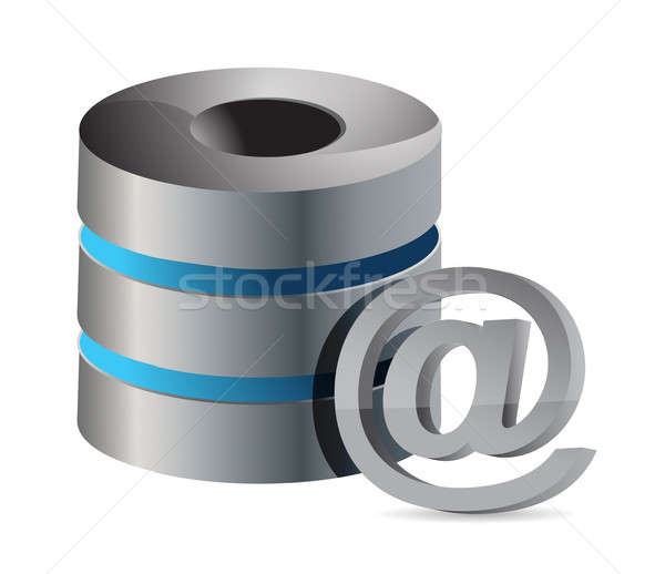 database with mail symbol illustration design on white backgroun Stock photo © alexmillos