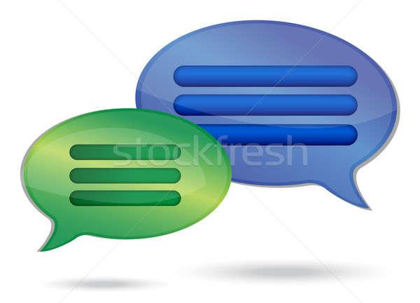 Praten bericht bubbels illustratie ontwerp witte Stockfoto © alexmillos