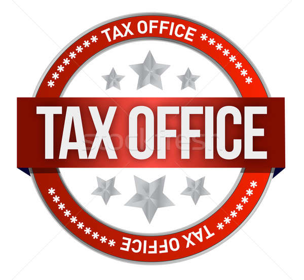rubber stamp marked with tax office illustration design over whi Stock photo © alexmillos