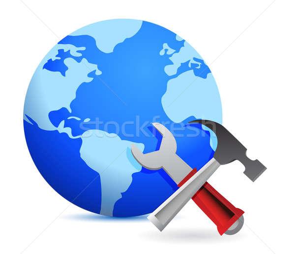 Technische ondersteuning illustratie ontwerp witte wereldbol metaal Stockfoto © alexmillos