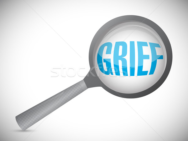 grief under a magnify glass illustration design over a white bac Stock photo © alexmillos