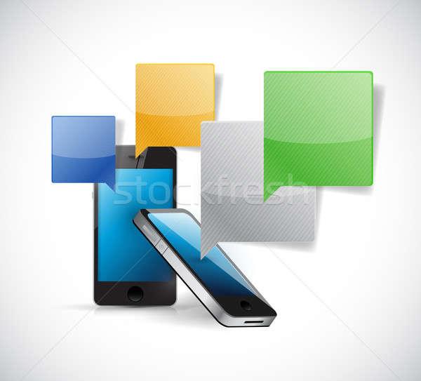 Stock fotó: Szett · telefonok · kommunikáció · illusztráció · terv · fehér