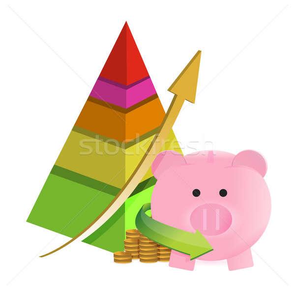 pyramid savings graph chart illustration design over a white bac Stock photo © alexmillos
