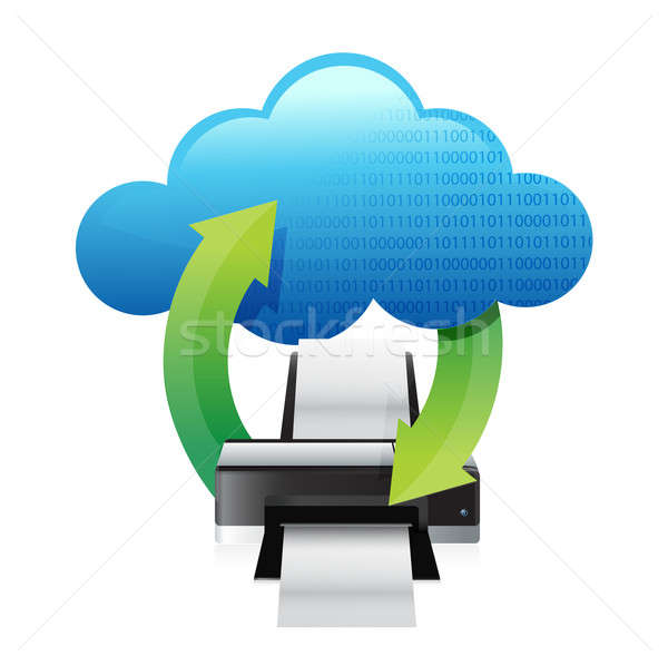 Stock photo: printer cloud computing concept illustration design over white