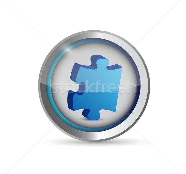 missing puzzle piece button. illustration design over white Stock photo © alexmillos