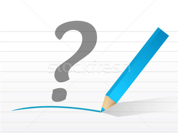 question mark on a white piece of paper. illustration design Stock photo © alexmillos