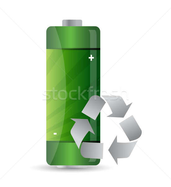 battery with recycle sign illustration design over white Stock photo © alexmillos