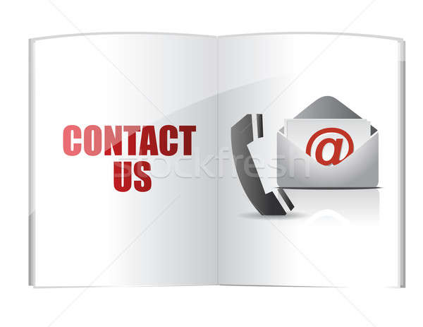 Contact us words on book Stock photo © alexmillos