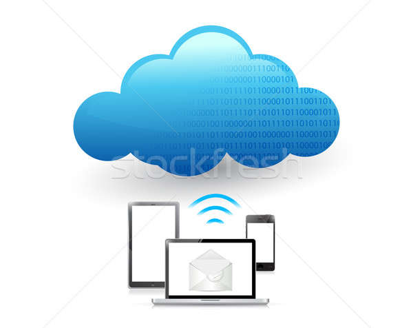 set of electronics communication tools connected to a cloud via  Stock photo © alexmillos