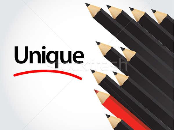 Black pencils and red pencil in arrange Stock photo © alexmillos
