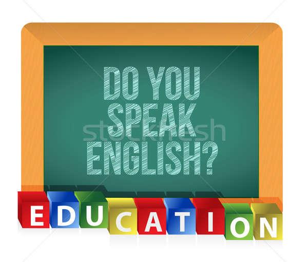 'Do you speak English?' board Stock photo © alexmillos