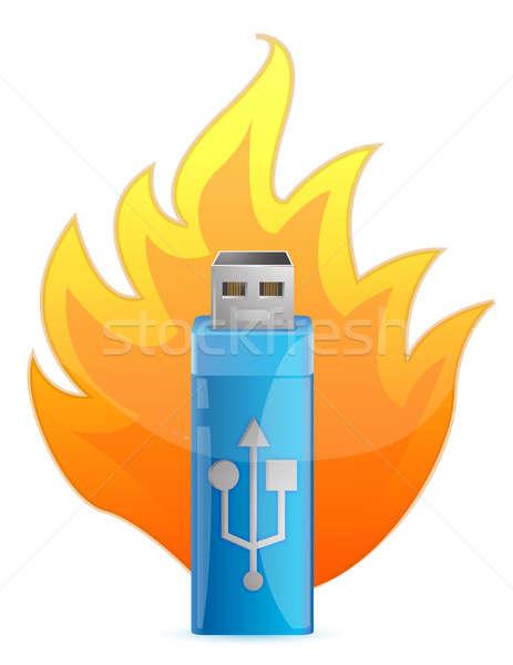 Blauw usb flash drive brand kabel zwarte Stockfoto © alexmillos