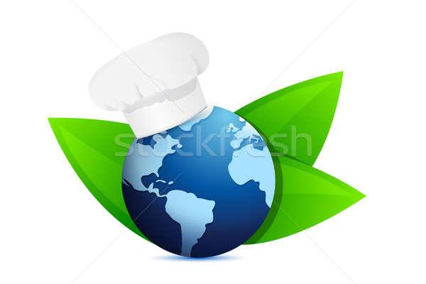 Szakács sapka öko földgömb nemzetközi konyha illusztráció Stock fotó © alexmillos