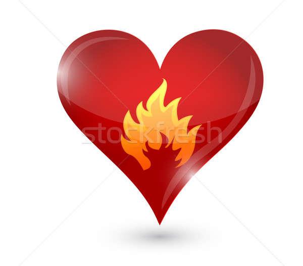 Stock fotó: Szenvedély · égő · szív · tűz · illusztráció · absztrakt