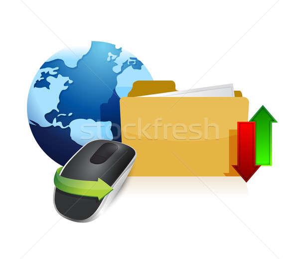 глобальный информации беспроводных Компьютерная мышь международных информации Сток-фото © alexmillos