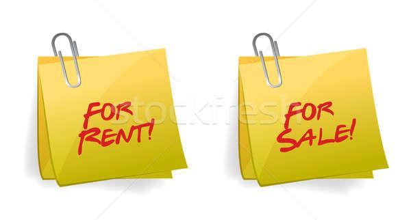 Bérlés vásár öntapadó jegyzet illusztráció terv üzlet Stock fotó © alexmillos