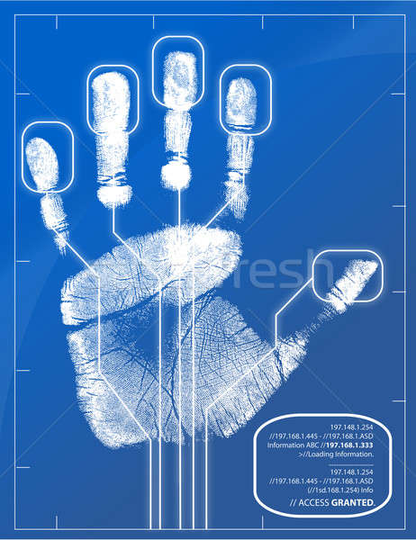 Hand being scanned before access is granted. Stock photo © alexmillos