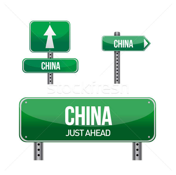 republic of china, Country road sign illustration design over wh Stock photo © alexmillos