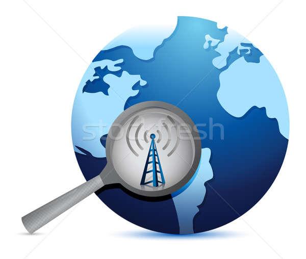 Zoek connectiviteit rond wereld wifi toren Stockfoto © alexmillos