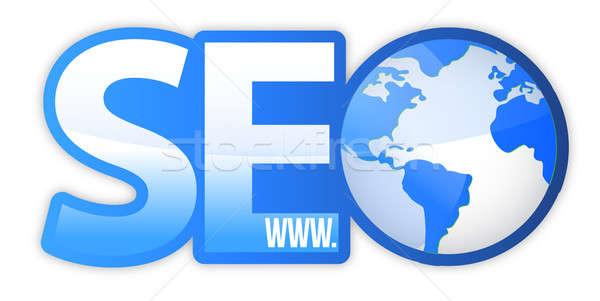 SEO Icon with Blue World Globe WWW illustration design Stock photo © alexmillos