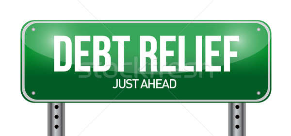 Stock photo: debt relief road sign illustration design over a white backgroun