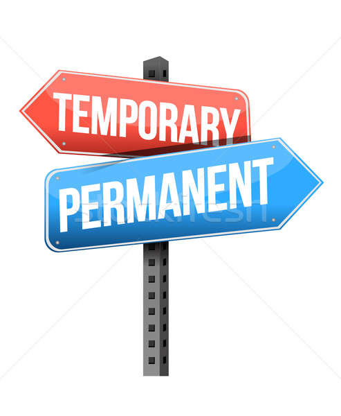 temporary, permanent road sign illustration design over a white  Stock photo © alexmillos